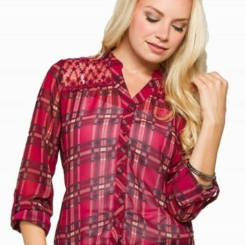 MINE PLAID LACE SHIRT