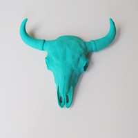 The Malm - Turquoise Resin Buffalo/Bison Skull Head- White Faux Taxidermy- Chic & Trendy