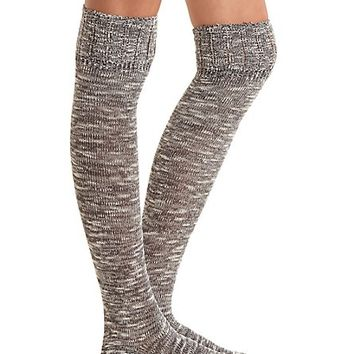 Pointelle-Topped Marled Over-the-Knee Socks