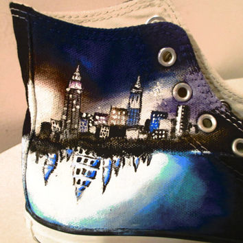 "Hand Painted Converse High tops -Theme: ""The Mortal Instruments"""
