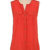 high-low sleeveless button front blouse