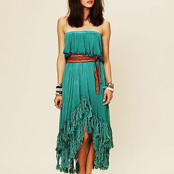 Free People Fringed Goddess Long Dress