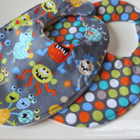 Baby Boy Bib Set, Little Monster, Triple Layer Bib, Your Choice Snap or Velcro
