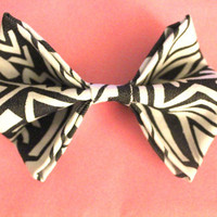Black and White aztec hair bow