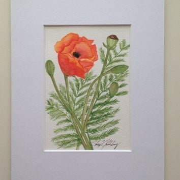 Orange Poppies #1, Original Watercolor Painting, 8x10 mat, Not a Print