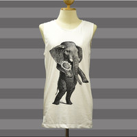 Vintage Retro Elephant Walks Cute - Womens Tank Top Mini Dress Printed White T Shirt Light and Soft