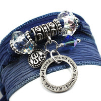 Silk Wrap Yoga Boho Bracelet-Denim Blue with Karma Affirmation Ring and Om Charm