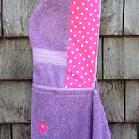 Girls Personalized Hooded Towel Hooded Towel Purple Pink Polkadots Beach Pool Bath Kids Children Girls Birthday Christmas Baby Shower Gift