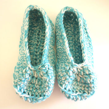 Turquoise and off white women's slippers, adult crochet booties, house shoes, house slippers, valentine's day gift, ready to ship
