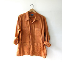 Vintage Pumpkin Colored Button Up Shirt. Embroidered Haband Guayabera Shirt. Men's long sleeve shirt. size 3XL