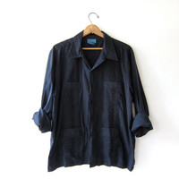Vintage Black Button Up Shirt. Embroidered Haband Guayabera Shirt. Men's long sleeve shirt. size 3XL