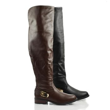 Pilot05 Almond Toe Over The Knee Back Strap Low Heel Zip Up Riding Boots