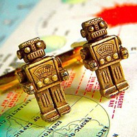 Brass Robot Cufflinks From Cosmic Firefly by CosmicFirefly on Etsy