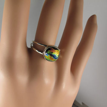 Dichroic Stone Ring, Sterling Silver Ring, Dichroic Glass Ring, Colorful Ring, Fused Glass Jewelry, Two Band Ring With Cabochon,