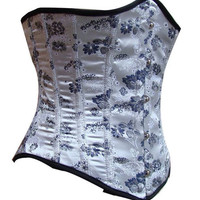 White Brocade underbust waist training corset steel boned