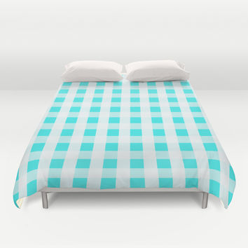 Plaid Flannel Turquoise Mint Duvet Cover by Beautiful Homes