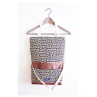 Large fold over canvas tote bag shopping bag casual fold over tote vegan school bag brown greek labyrinth pattern book bag for women