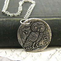 Silver Owl Pendant Necklace, Antique Pewter Bird Reversible Nature Jewelry