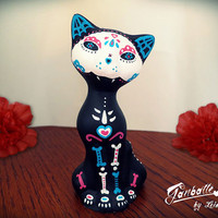 Mexican Cat sculpture painted handmade - Colors Cat - Kitty Calaca Sugar Skull Day of the Dead - Dia de los muertos - Halloween cat