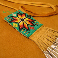 Square stitch beaded Four Direction Morning Star amulet bag