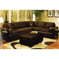 Sectional Sofa and Ottoman Set in Chocolate Fabric