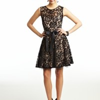 Short Two-Tone Lace Dress with Ribbon Belt