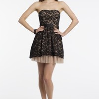 Strapless Lace Dress with Peek A Boo Hem