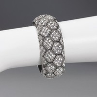 Rhinestone Bangle Bracelet with Hectagon Detail