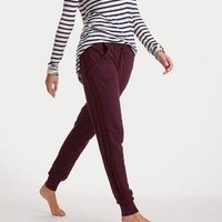 Aerie Women's Cable Knit Skinny Jogger (Deep Plum)