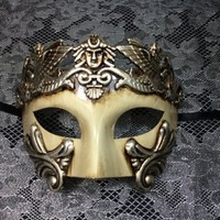 Unisex Men's and Women's Mask Greek Theatre Roman Warrior Greek Venetian Masquerade Mask Metallic Silver Mask