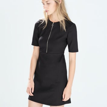 Dress with zip neck