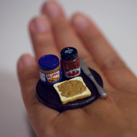 Kawaii Miniature Food Ring - Peanut Butter Jelly Sandwich