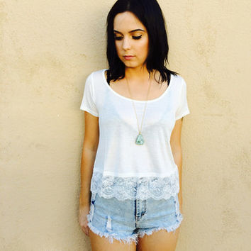 Lace bottom top - Ivory