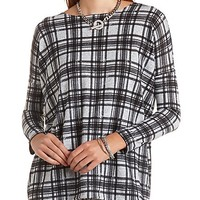 Long Sleeve Plaid Top by Charlotte Russe - Black Combo