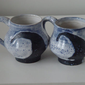 Pair of Wave pattern Coffee \ Tea Cup Large Handled 12 oz pottery Mug, Indigo Blue & White, Wheel Thrown Pottery ceramic
