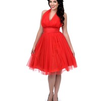 Preorder - Unique Vintage 1950s Style Red Midtown Halter Swing Dress