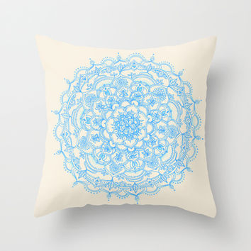 Pale Blue Pencil Pattern - hand drawn lace mandala Throw Pillow by micklyn