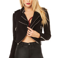 Double Zipper Harley Jacket in Black