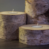 Handmade Rustic Birch Candle Holders with Candles