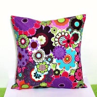 Throw Pillow Cover 16x16 Accent Decorative Toss Couch Bed Cotton Mod Print Fabric Cover Purple Pink Green Turquoise Brown Orange