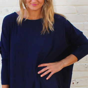 Long Sleeved Solid Comfy Tunic Top - Navy Blue – H.C.B.