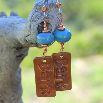 Bark Dog Rescue Handmade Earrings Jewelry Copper Turquoise Lampwork
