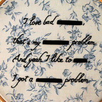 "Hand-Embroidered Redacted Lyrics - ASAP Rocky - ""F_ckin' Proplems"""