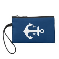 Nautical Anchor Monogram Navy Blue White Custom