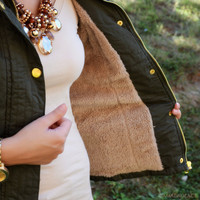 Going Glamping Olive Fur Lined Vest
