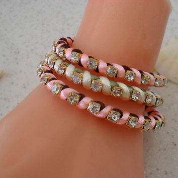Light Pink and Light Green Bracelets - Summer Style - 3 pcs. - Beach