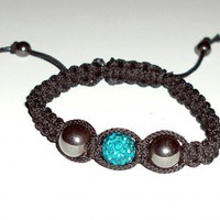 Macrame Bracelet Black with Ocean Blue Pave Bead and Hematite Beads