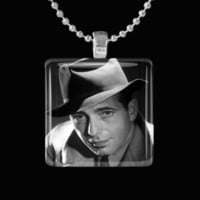 Classic Movies Inspired Humphrey Bogart Glass Tile Pendant