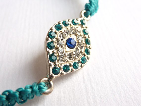 Teal Macrame Bracelet, Evil Eye Charm, Adjustable Bracelet ***SOLD***