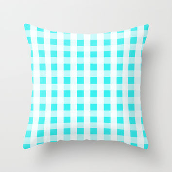 Plaid Flannel Turquoise Mint Throw Pillow by Beautiful Homes